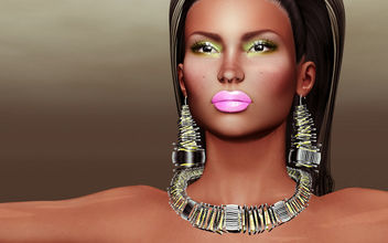 Asami Necklace & earrings, Iolana lips & Hannie shadow by Zibska @ Shiny Shabby - Free image #442195