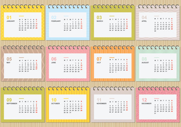 Free Desktop Calendar 2018 With Soft Colour Template Illustration - Free vector #442225