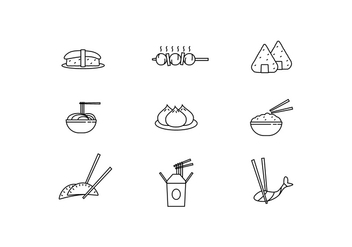 Icon Pack of Asian Dishes - vector gratuit #442295
