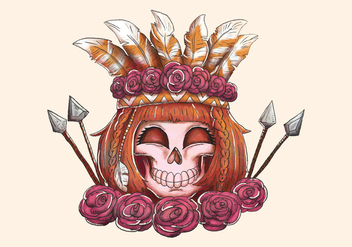 Boho Woman Skull Smiling With Arrow Roses And Feathers - vector #442455 gratis