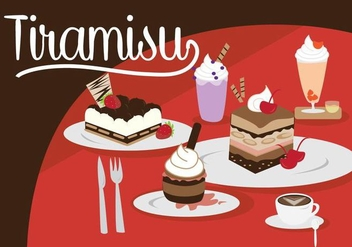 Tiramisu and Dessert Set - vector gratuit #442465
