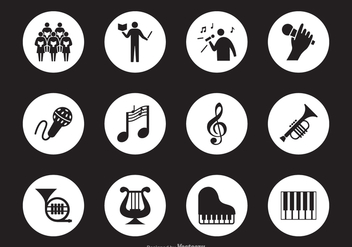 Black Musical Performance Silhouette Vector Icons - vector gratuit #442485