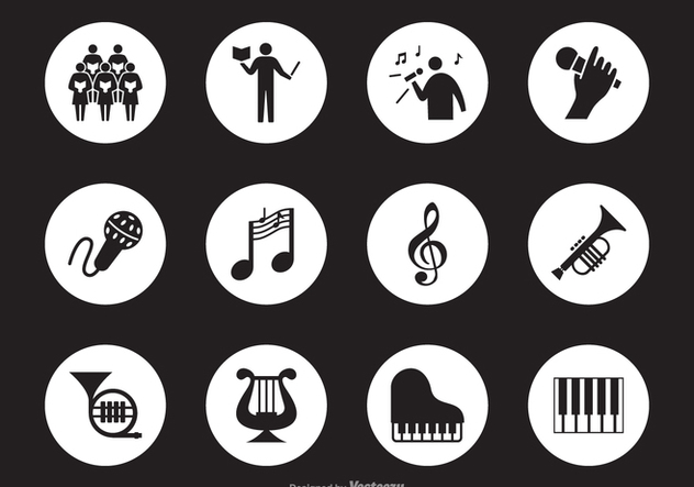 Black Musical Performance Silhouette Vector Icons - Free vector #442485