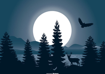 Beautiful Night Landscape Scene - vector gratuit #442515