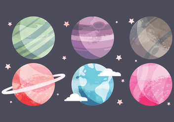 Vector Watercolor Planets Collection - бесплатный vector #442595