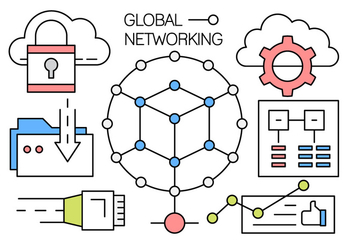 Free Linear Global Networking Vector Icons - Free vector #442625