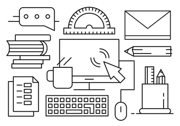 Free Vector Illustration with Office Desk Objects and Elements - Kostenloses vector #442635