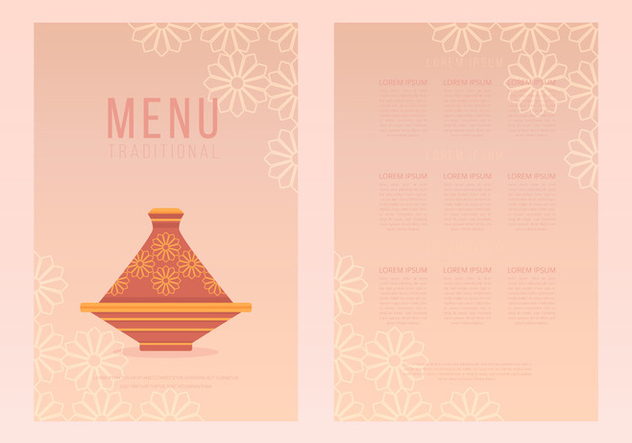 Tajine Moroccan Traditional Food Menu Templates - vector gratuit #442705
