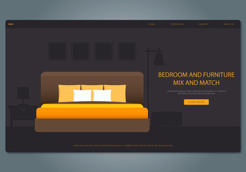 Yellow Bedroom and Furniture Web Interface - vector #442785 gratis