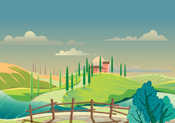 Vew of the Hilly Landscape in Tuscany - Free vector #442805