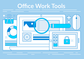 Free Linear Office Tools Elements - vector gratuit #442835