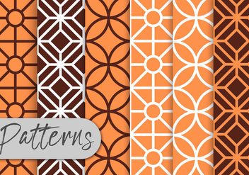 Orange Line Art Pattern Set - бесплатный vector #442965