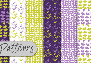 Purple Green Floral Pattern Set - Kostenloses vector #442985