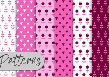 Pink Nature Pattern Set - Kostenloses vector #443005