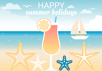 Free Summer Traveling Template Background - Free vector #443115