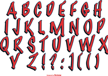 Red Grafitti Style Alphabet Collection - Free vector #443135