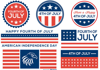 Fourth of July Badge and Label Collection - vector gratuit #443155