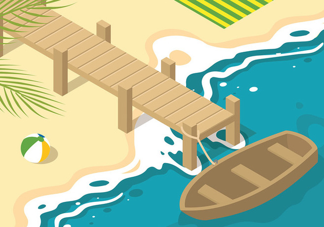 Boardwalk Isometric Free Vector - Free vector #443205
