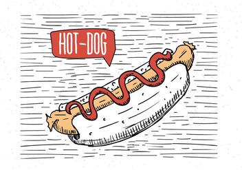 Free Hand Drawn Vector Hot-Dog Illustration - vector gratuit #443225