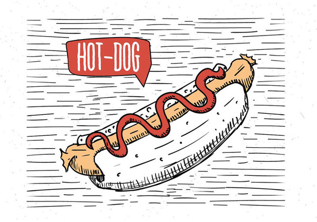 Free Hand Drawn Vector Hot-Dog Illustration - Free vector #443225