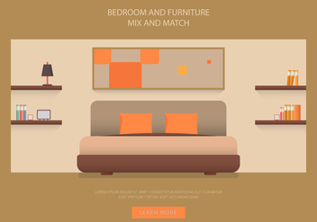 Headboard Bedroom and Furniture Vectors - бесплатный vector #443235