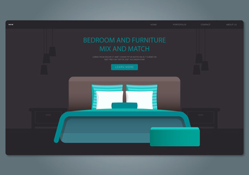 Green Headboard Bedroom and Furniture Web Interface - vector #443245 gratis