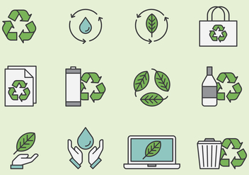 Recycling And Environmental Icons - vector #443355 gratis