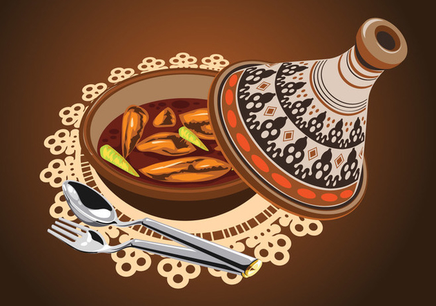 Illustration of Sambal Chicken Tajine Served with Olives, in a Rustic Beautiful Tagine Pot - бесплатный vector #443365