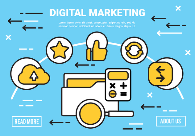 Free Flat Digital Marketing Concept Vector - vector gratuit #443405
