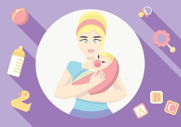 Mom Taking Care of Her Crying Baby Vector - Free vector #443595