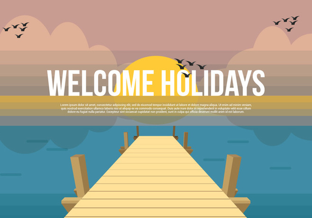 Boardwalk Vector Background Illustration - Free vector #443625