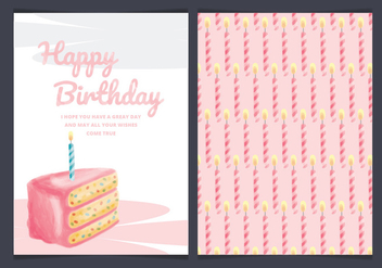 Vector Birthday Cake Card - vector gratuit #443635
