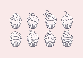 Vector Outline Cupcake Set - Free vector #443645