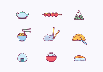 Asian Dishes Icons - бесплатный vector #443685