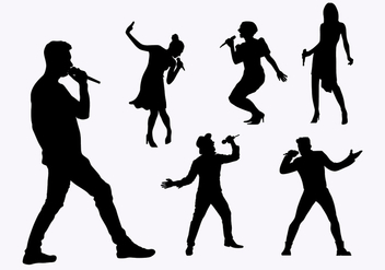 Flat Silhouette Singers - Kostenloses vector #443695