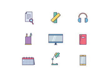 Work Desk Objects - vector gratuit #443955