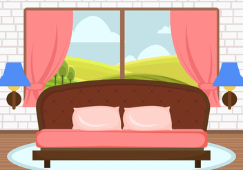 Decorative Pink Bedroom Vector - бесплатный vector #443995