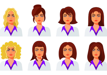Set Of Woman Icons - vector #444095 gratis