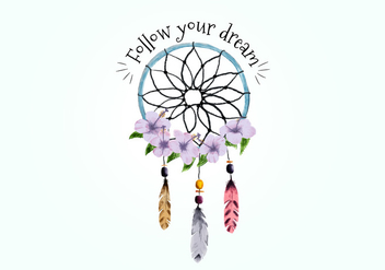Boho Dream Catcher With Feathers And Purple Flowers Vector - Free vector #444135