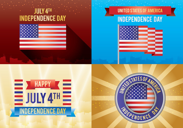 4th Of July Independence Day Card - бесплатный vector #444145