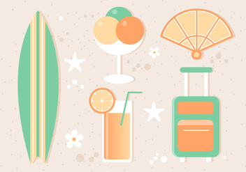 Free Flat Tropical Summer Background - бесплатный vector #444155