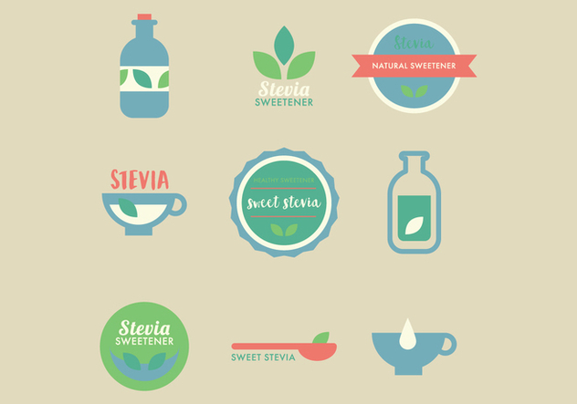 Cute Stevia Badges - Free vector #444175