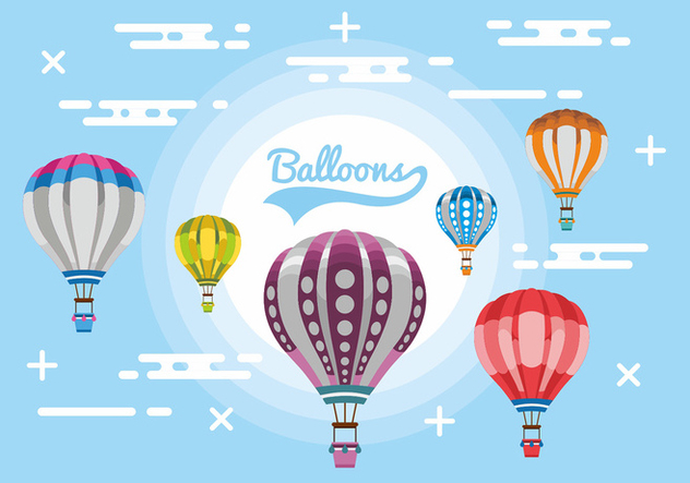 Hot Air Balloons Vector Design - Free vector #444205