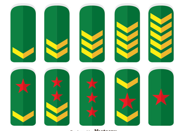 Green Army Rank Collection Vector - бесплатный vector #444305