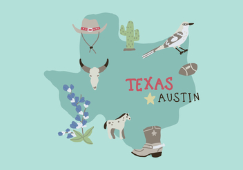 Texas Map With Different Characteristic Elements - vector gratuit #444315