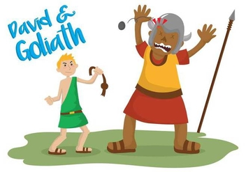 David and goliath vector illustration - бесплатный vector #444345