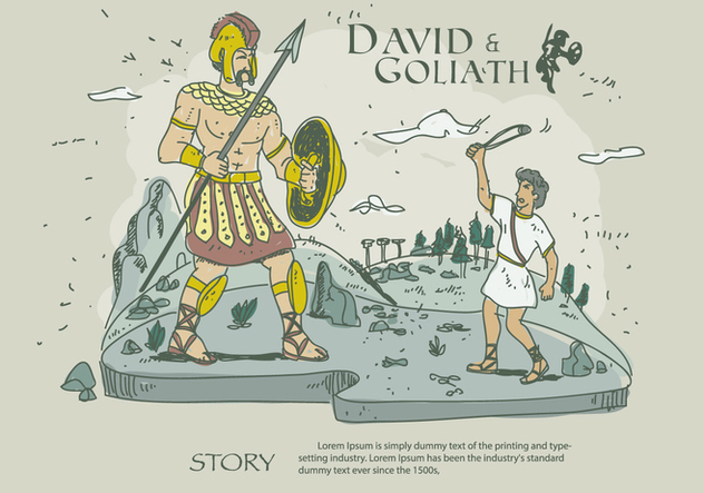 David And Goliath Story Hand Drawn Vector Illustration - vector gratuit #444355