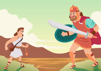 Battle Of David And Goliath - Free vector #444375