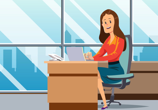 Women Working In Office Vector - Kostenloses vector #444435