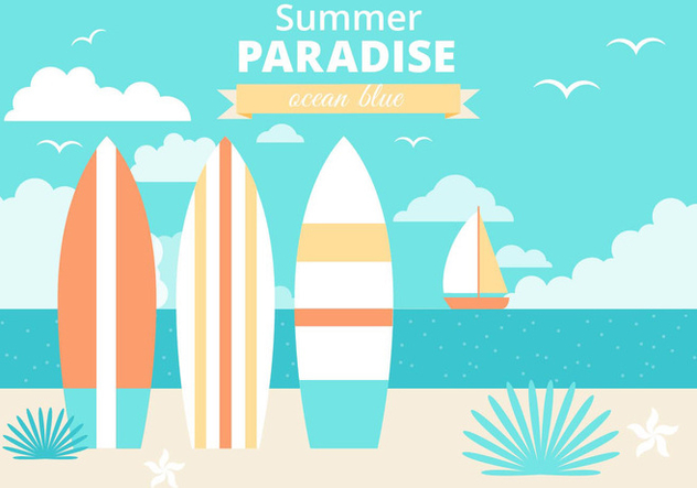 Free Flat Design Vector Summer Vacation Illustration - vector gratuit #444485